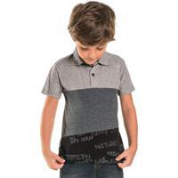 Camisa Infantil Polo Listras Cinza