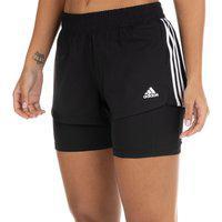 Shorts Adidas Feminino Pacer 3 Listras 2 In 1