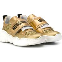 Moschino Kids Tênis Com Logo - Dourado
