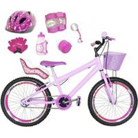 Bicicleta Infantil Aro 20 + Kit Roda Aero + Cadeirinha Boneca Completa - Feminino