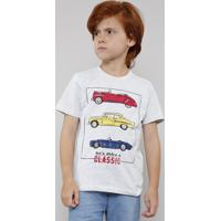 Camiseta Infantil Com Estampa De Carro Manga Curta Cinza Mescla Claro