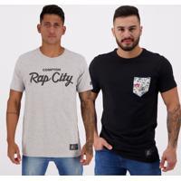Kit De 2 Camisetas Starter Preta E Cinza Mescla