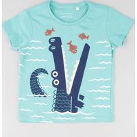 Camiseta Infantil Estampa Interativa De Jacaré Manga Curta Gola Careca Verde Claro
