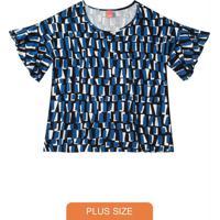 Blusa Azul Estampada Com Babado