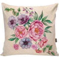 Capa De Almofada Floral- Bege & Rosa- 42X42Cm- Sstm Home