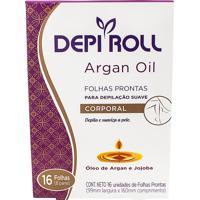 Depilador Depiroll Argan Oil Cera Fria Para Virilha E Pernas Folhas Prontas Com 16 Unidades (8 Pares)