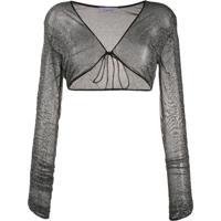 Oséree Camisa Metalizada Com Franzido - Cinza