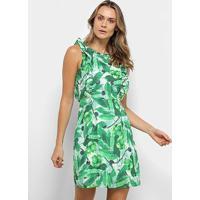 Vestido Yutz Curto Folhagens - Feminino-Verde