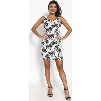 Vestido Texturizado Floral- Branco & Preto- Moisellemoisele