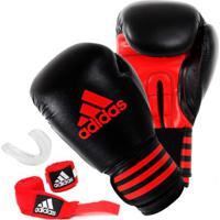 Kit Boxe Adidas Power 100 + Bucal + Bandagem - Unissex