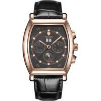 Relógio Tevise 8383A Masculino Automático Pulseira De Couro Genuíno - Preto E Dourado