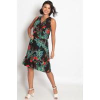 Vestido Longo Floral Com Elástico- Preto & Vermelho-Vip Reserva