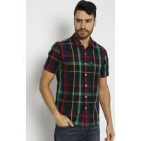 Camisa Xadrez Com Bolso- Preta & Verdelevis