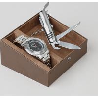 Kit De Relógio Analógico Mondaine Masculino + Canivete - 83454G0Mvne1K Prateado - Único