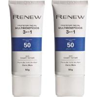 Kit Protetor Solar Facial Renew Fps 50 Efeito Matte 50G - Unissex-Incolor