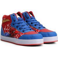 Tênis Infantil Marvel Cano Alto Homem Aranha Masculino - Masculino-Azul+Vermelho
