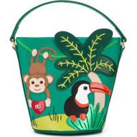 Dolce & Gabbana Kids Bolsa Bucket Com Aplicação - Verde