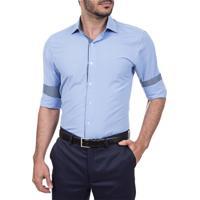Camisa Colombo Social Slim Azul Com Detalhe