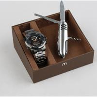 Kit De Relógio Analógico Mondaine Masculino + Canivete - 99355Gpmvss1K Grafite - Único
