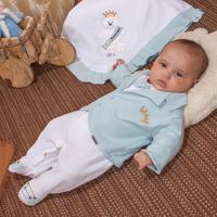Saída De Maternidade Fofinho Masculina Casaco Príncipe Azul