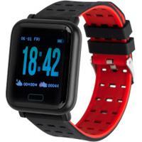 Monitor Cardíaco Relógio Inteligente Oxer Oxwatch Wearfit - Preto/Vermelho