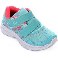 Tênis Infantil No Stress Running Velcro - Feminino-Verde Claro+Pink