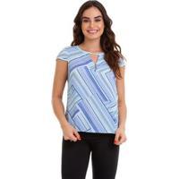 Blusa Kinara Crepe Geométrica - Feminino-Azul