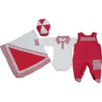 Kit I9 Baby Saída Maternidade 4 Peças Baby Vermelho