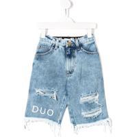 Natasha Zinko Kids Short Jeans Destroyed - Azul