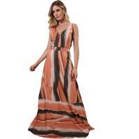 Vestido Soellas Boutique Longo Estampado Laranja