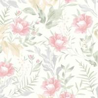 Papel De Parede Flores Cinza E Rosa (950X52)