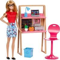 Boneca Barbie Articulada - Barbie Com Móveis E Acessórios - Barbie No Escritório - Mattel - Feminino