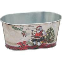 Cachepot Papai Noel- Bege & Vermelho- 9X19,5X11Cm