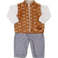 Macacão Infantil Para Bebê Menino - Cinza/Bege
