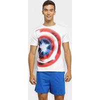 Pijama Evanilda Capitão América Malha Curto Tal Pai Masculino - Masculino-Branco+Azul