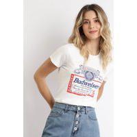 Blusa Feminina Budweiser Manga Curta Off White