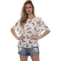 Blusa Bisô Decote Costas Feminina - Feminino-Off White