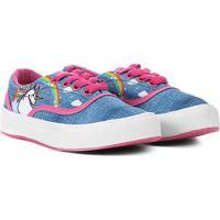 Tênis Infantil Via Vip Unicórnio Feminino - Feminino-Azul+Pink