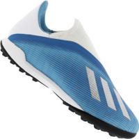 Chuteira Society Adidas X 19.3 Laceless Tf - Adulto - Aqua
