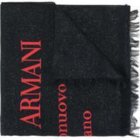 Giorgio Armani Echarpe Com Estampa De Logo Metálico - Azul