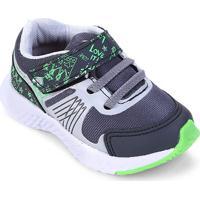 Tênis Infantil No Estress Running Com Cadarço E Velcro - Feminino-Grafite+Verde