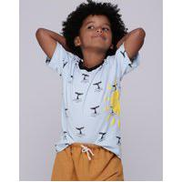 Amaro Feminino Caiçarinhas Baby Camiseta Infantil Manga Curta, Azul Oceano