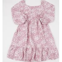 Vestido Infantil Estampado Floral Manga Longa Rosa