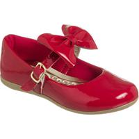Sapato Boneca Envernizado Com Laã§O- Vermelho & Dourado