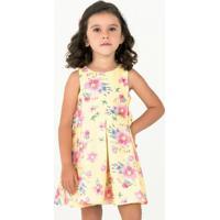 Vestido Floral Com Pregas - Amarelo & Rosa- Mon Sucrmon Sucré
