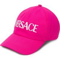 Versace Boné Com Logo Bordado - Rosa