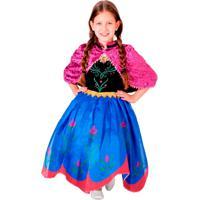 Fantasia Frozen Anna Premium - Unissex-Rosa+Azul