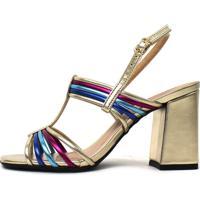 Sandália Metalizada Betsy Damannu Shoes Dourada Colorida