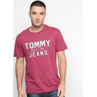 Camiseta Tommy Jeans Logo Retrô Masculina - Masculino-Bordô