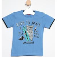 "Camiseta ""Born To Skate""- Azul & Preta- Gueda Kidsgueda Kids"